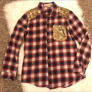 NWOT E2 Brand Sequin Pocket Flannel Sz: Small